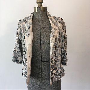 BL-NK London Anthropologie Leather & Silk Blazer